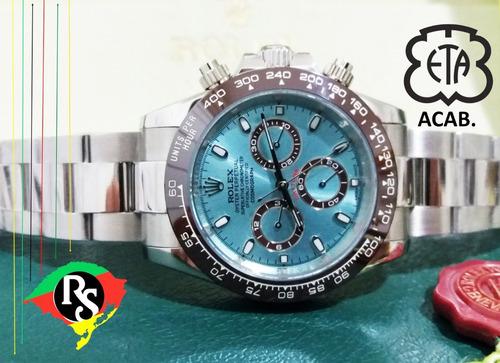 relógio daytona 40mm azul cerâmica marrom safira +50 modelos