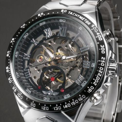 relógio de aço analógico masculino skeleton