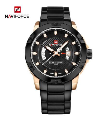 relógio de aço masculino original naviforce modelo rose black all edition série lux