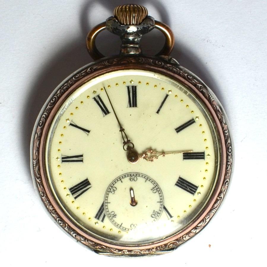 e3e28699825 Relógio De Bolso A Corda Antigo Alemão Suíço Prata S Jorge - R  400 ...