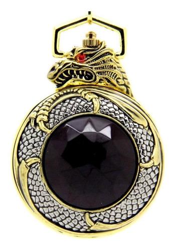 relógio de bolso dragão dourado quartz pronta entrega