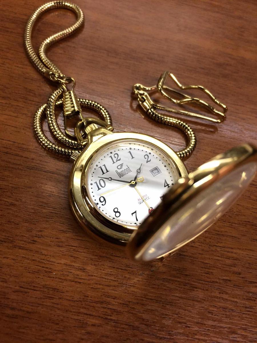 456d47f3014 relógio de bolso dumont quartz folheado com lupa e alarme. Carregando zoom.