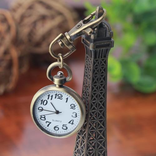 relógio de bolso e chaveiro - bronze antigo