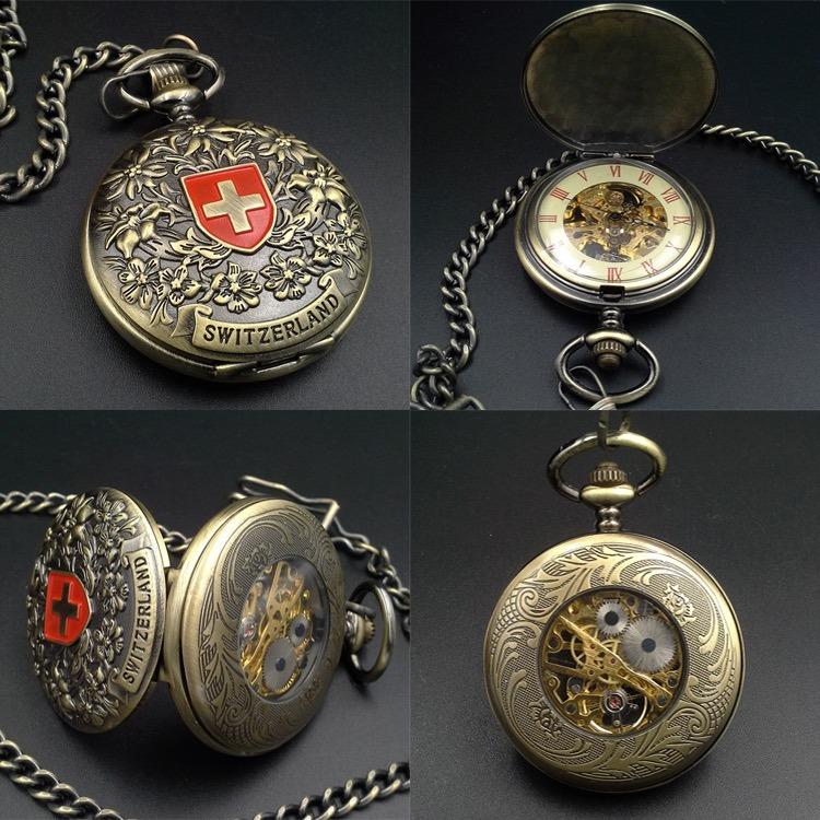 b899da341af Relógio De Bolso Mecânico Suíça Automático Corda Manual - R  139