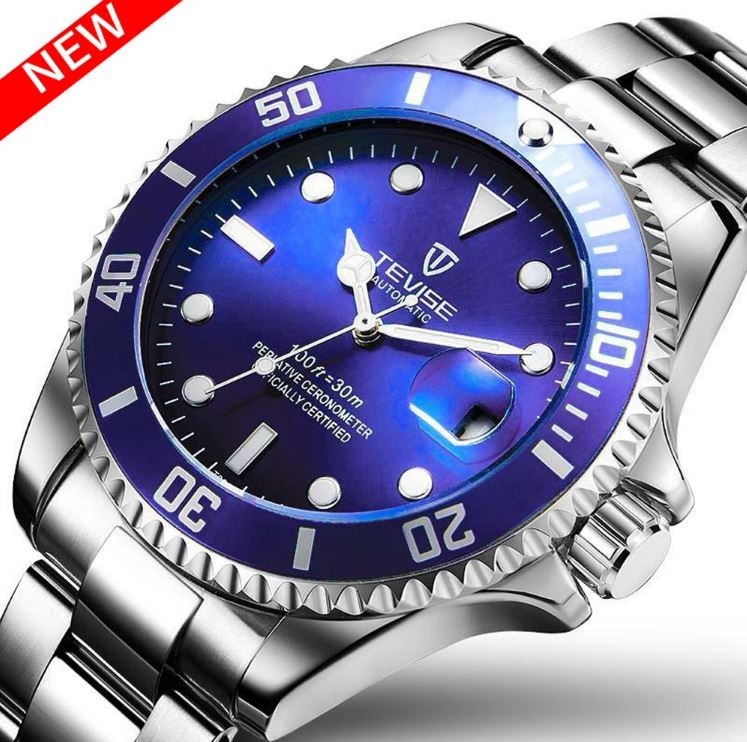 58a93353e33 Relógio De Luxo Automático Tevise Estilo Rolex - R  180
