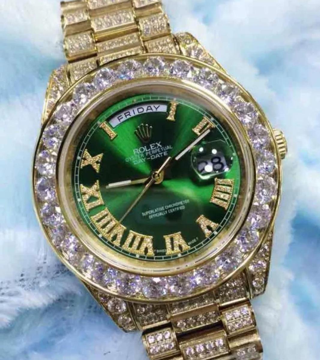 68381456d78 relogio de luxo cravejado rolex brilhante fundo verde 18k. Carregando zoom.
