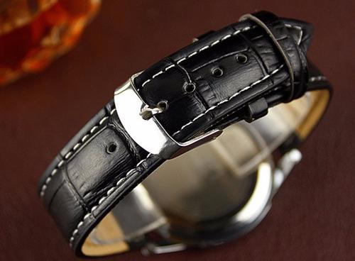 relogio de luxo homen couro de crocodilo falso pulso