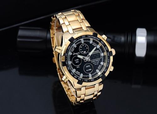 relógio de luxo maculino marca tigershark pulseira de ouro