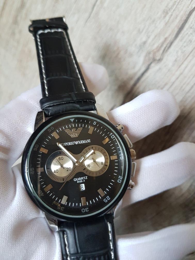 65399280a2c relógio de luxo masculino homens emporio armani couro preto. Carregando zoom .