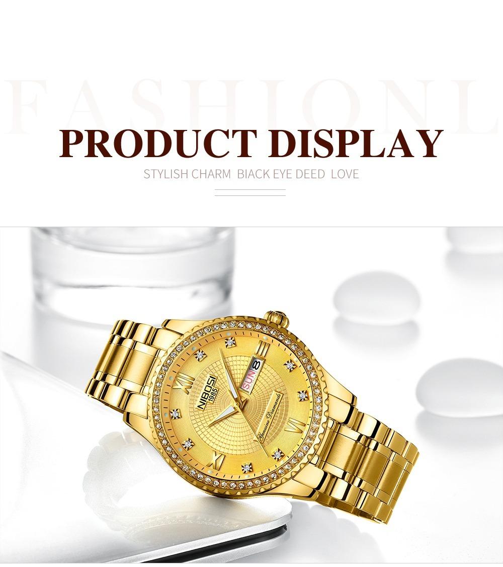 db284023fb4 relógio de luxo nibosi masculino dourado c  diamantes. Carregando zoom.