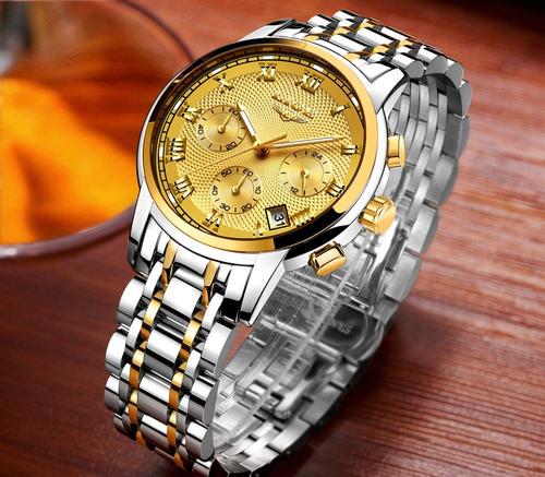 relógio de luxo original caixa aço homens barato + brinde