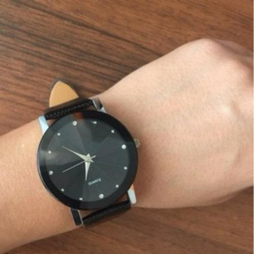relógio de luxo pulseira couro preta feminino quartz barato
