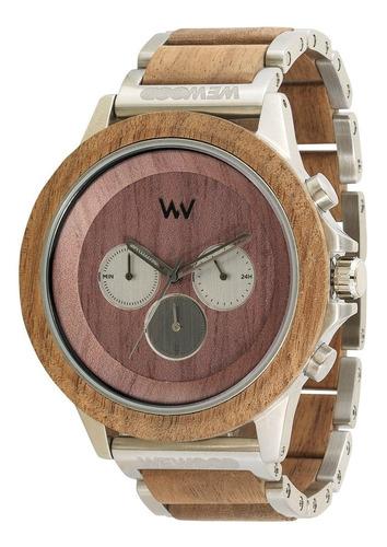 relógio de madeira wewood ethereum nut silver gun