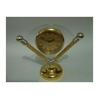 relógio de mesa despertador dourado/prata