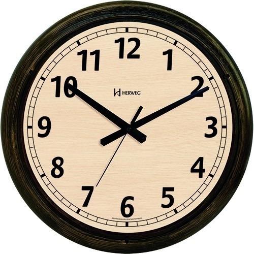 relógio de parede 40cm envelhecido velho retrô herweg 6654