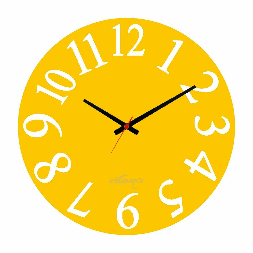 e827670abc4 relógio de parede amarelo grande cozinha sala quarto de mdf. Carregando zoom .