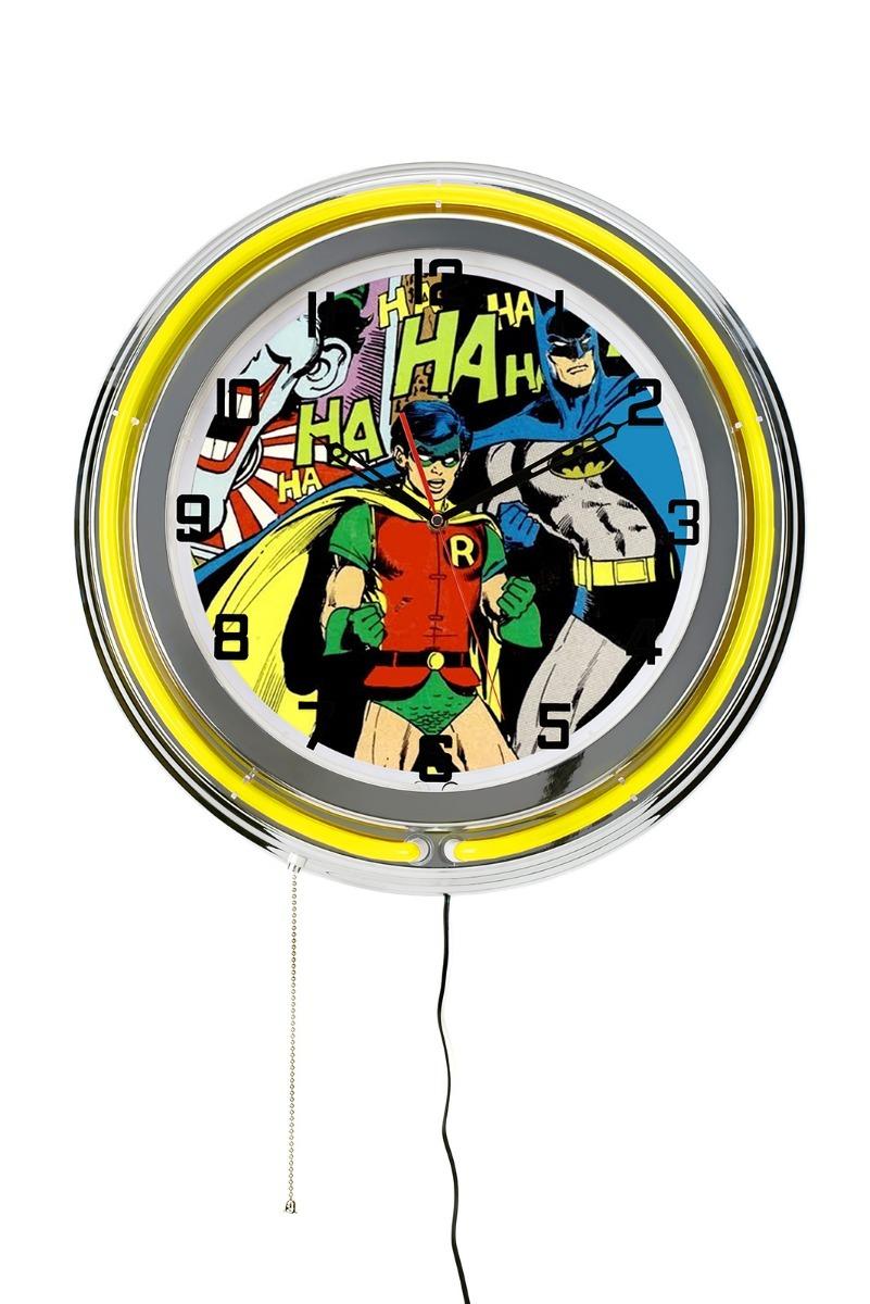 38588867017 Relógio De Parede Batman E Robin Com Neon Decoração Hq Retro