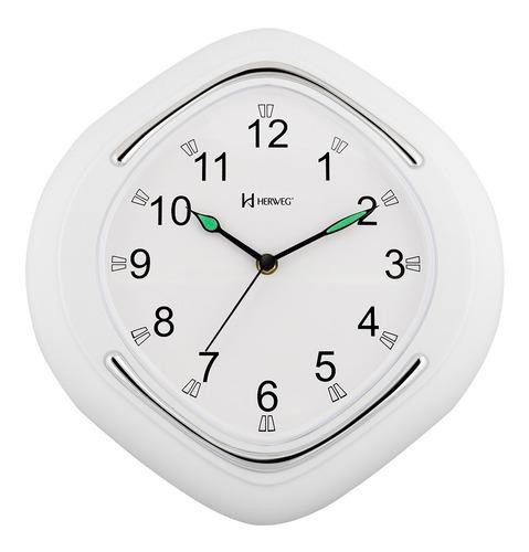 relógio de parede branco herweg plástico metalizado 6124