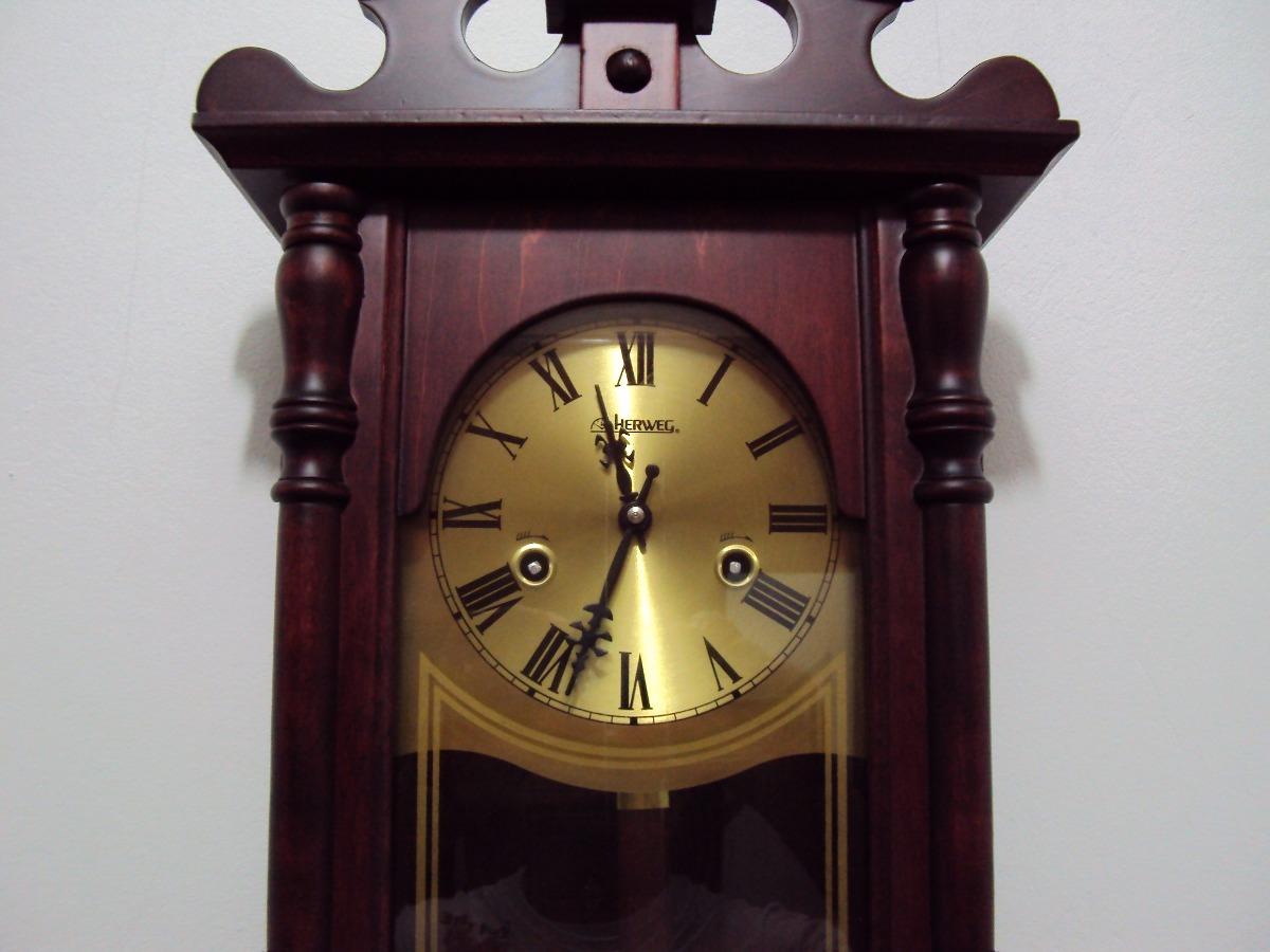 0cc9b998dbd67 relógio de parede carrilhão 80 cm corda madeira herweg 5352. Carregando  zoom.