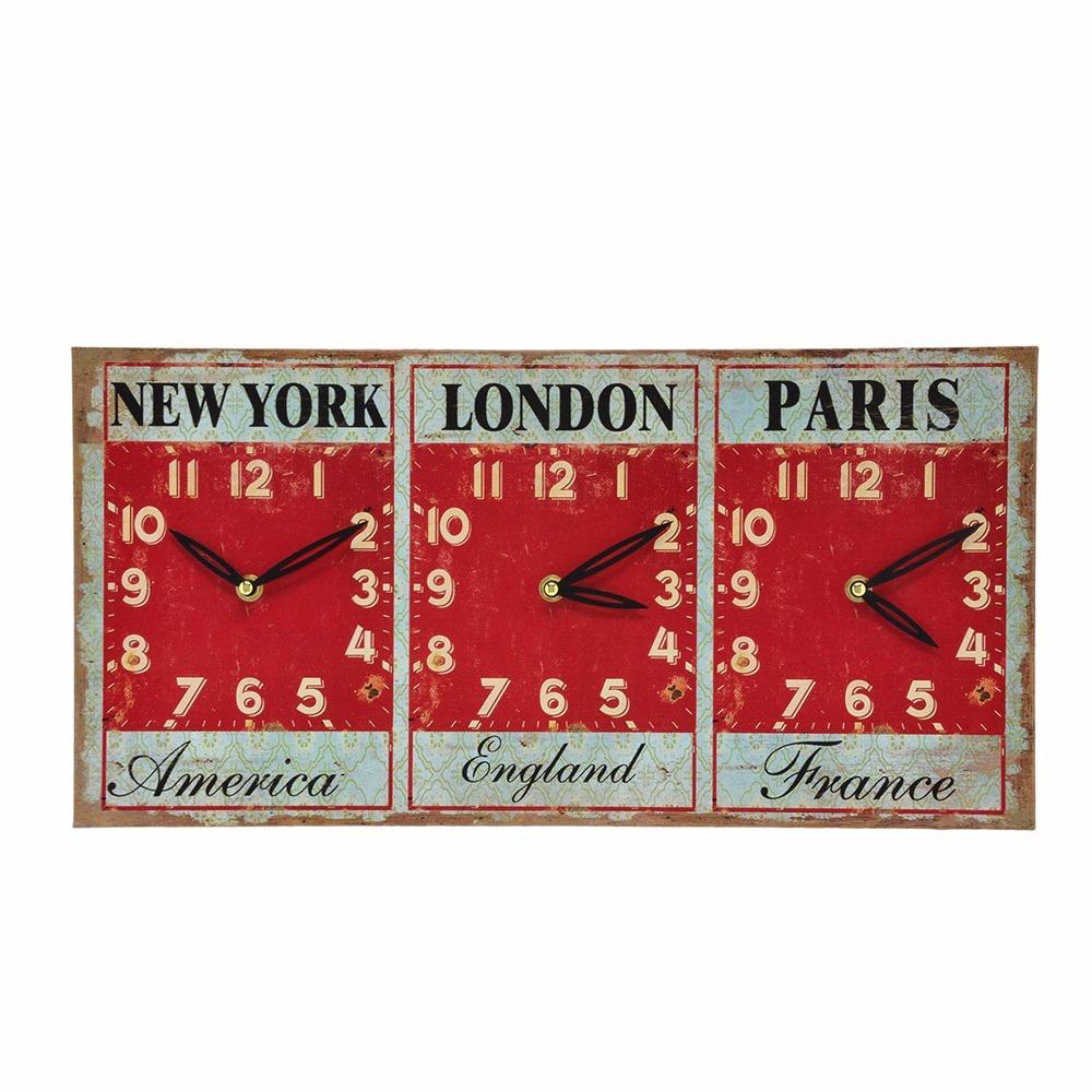 f746c3af226 Relógio De Parede Com 3 Horários - New York