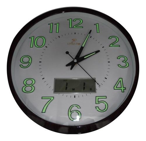 relogio de parede com calendario mostrador luminoso 34cm