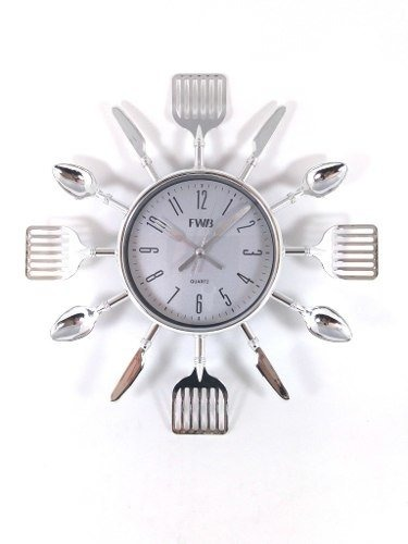 95358eb5f4a Relógio De Parede Cromado Talheres Cozinha 12cm 25cm - R  38