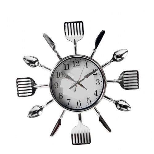 760c4d76669 Relógio De Parede Cromado Talheres De Cozinha - R  19