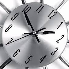 221ccf5b63c Relógio De Parede Cromado Talheres De Cozinha Garfo E Colher - R  49 ...