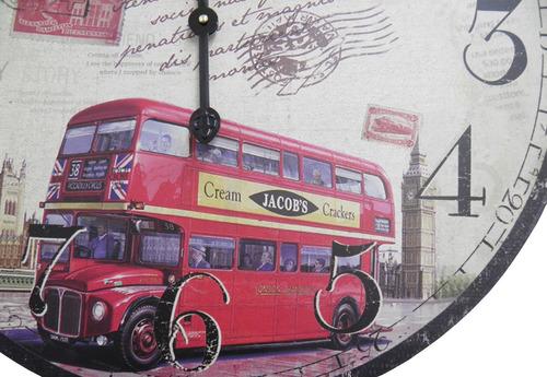 relogio de parede decoracao onibus englaterra retro vintage