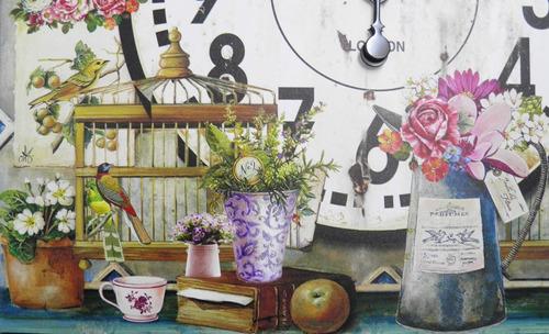 relogio de parede decoracao retro vaso de rosas com gaiola