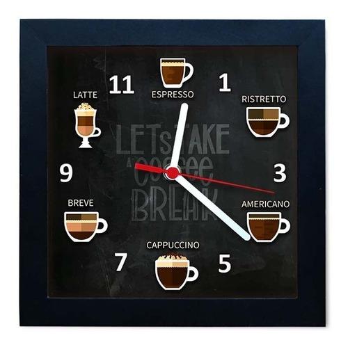 relógio de parede decorativo caixa alta tema cafés - qw019