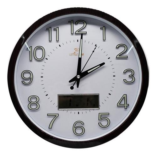 relogio de parede digital analogico com calendario mostrado