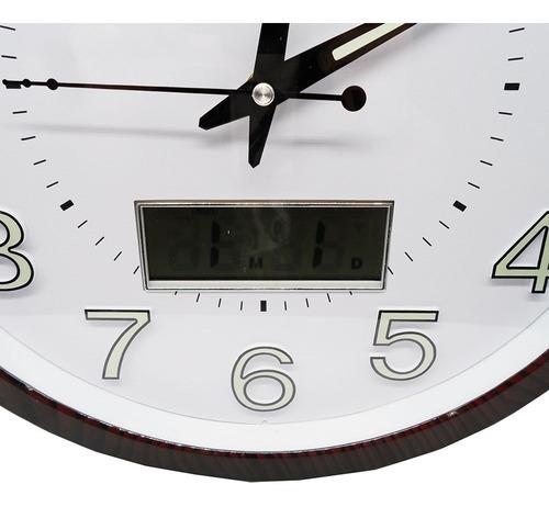 relogio de parede digital analogico mostrador luminoso 34cm
