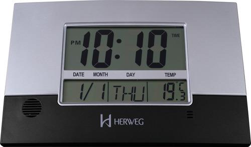relógio de parede digital herweg 6473 - preto