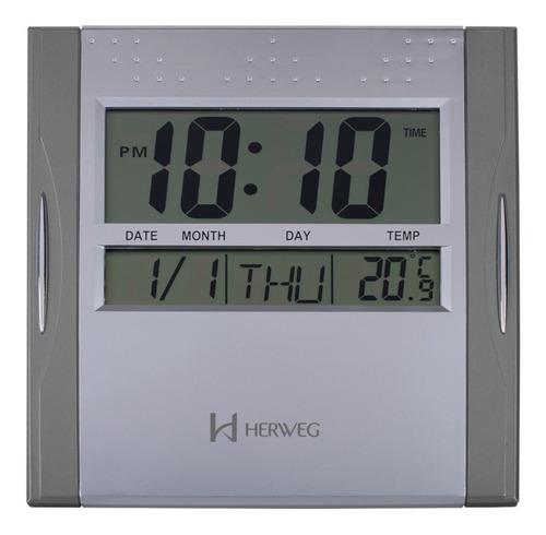 relógio de parede digital herweg 6474 - cinza - nfe garantia