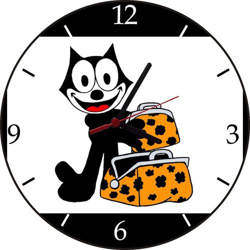 relógio de parede  em vinil,gato felix