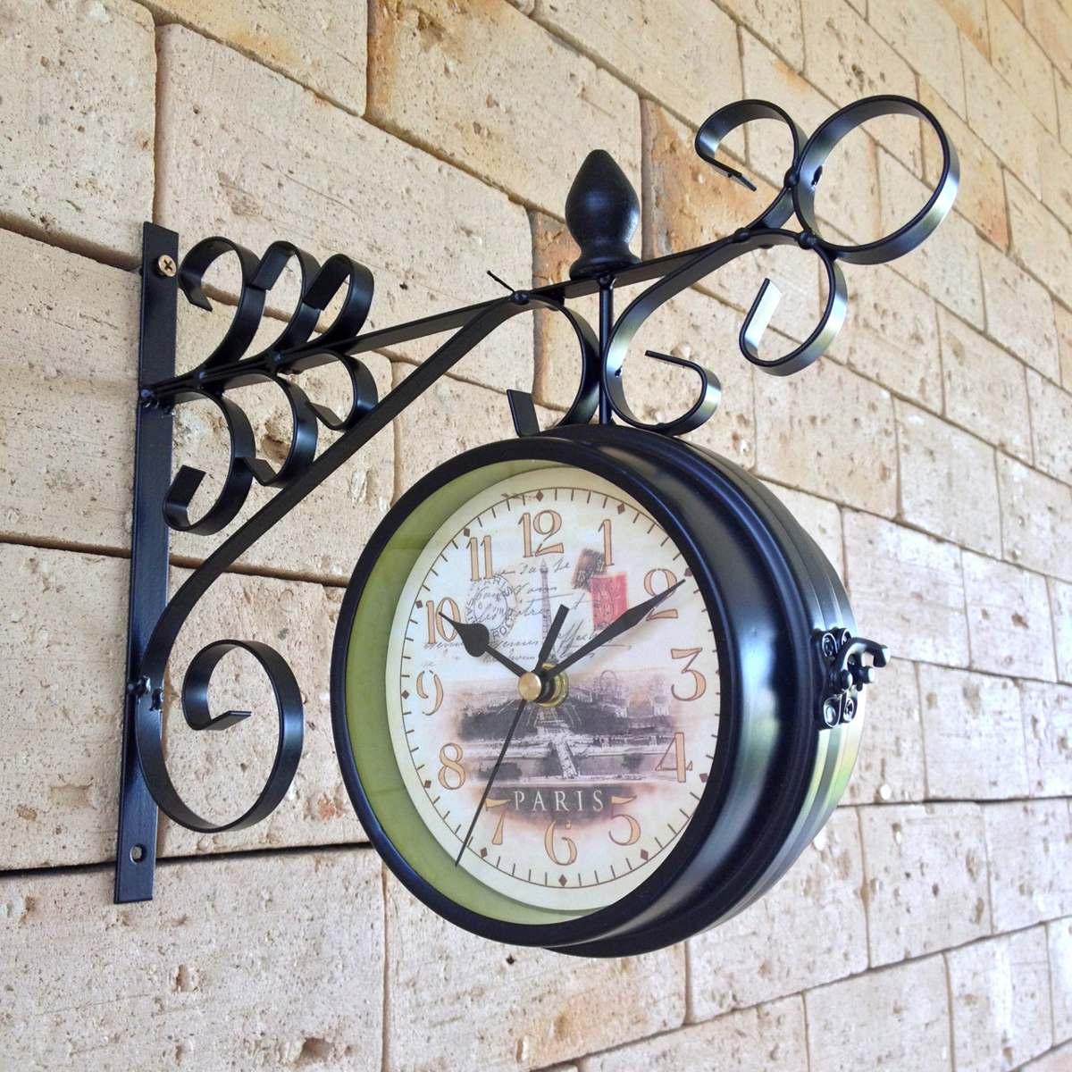 610e0c38405 relógio de parede estação paris dupla face retrô 12cm. Carregando zoom.