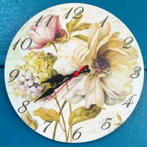 relógio de parede flor retro vintage cozinha sala 30cm