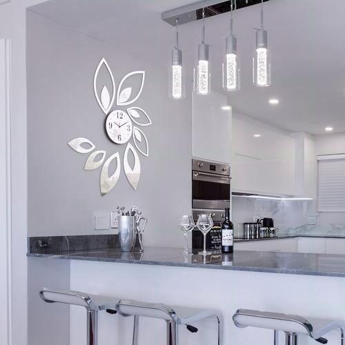 relógio de parede folhas espelho sala cozinha monte você