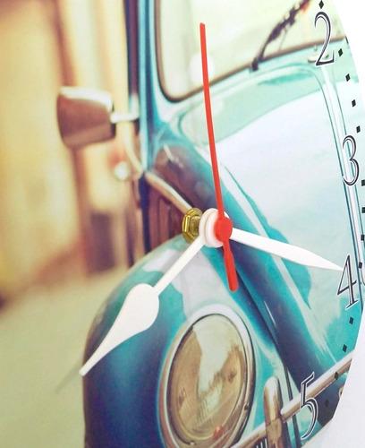 relógio de parede fusca carro antigo retrô azul vintage 30cm