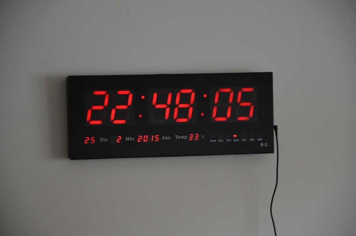 8b8e6b5248e Relógio De Parede Gigante Painel Led Digital Calendário Hora - R ...