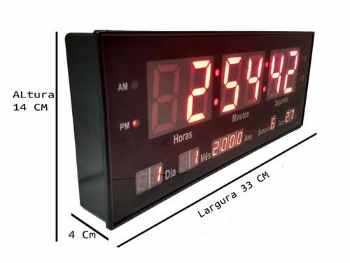 relógio de parede led digital calendário termômetro brinde33