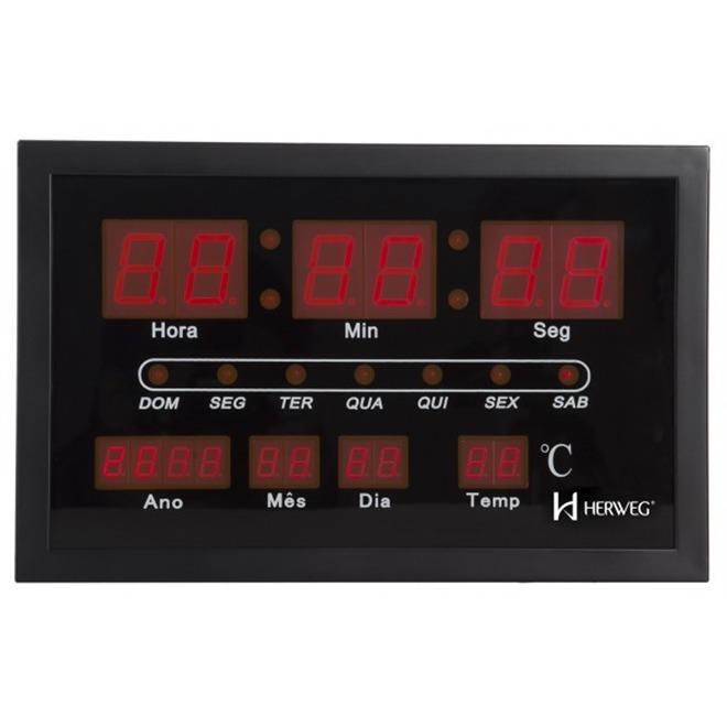 Calendario 216.Relogio De Parede Led Digital Calendario Termometro Herweg