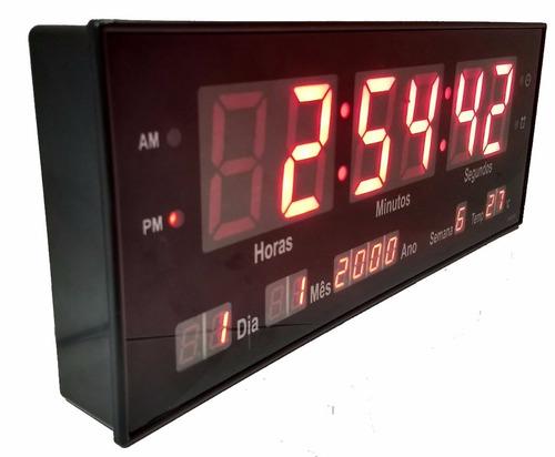 relógio de parede led digital data temp.oferta azul verde 33