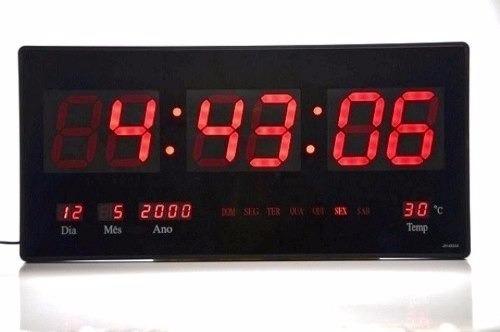 relógio de parede led digital data temp.oferta azul verde g