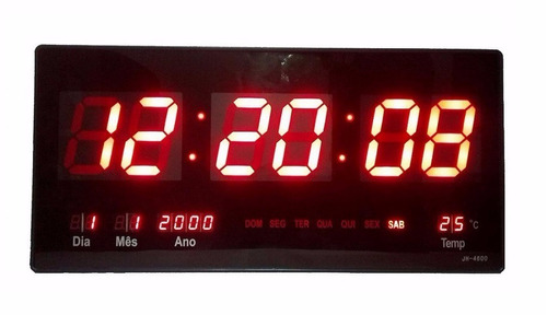 relógio de parede led digital gigante data termometro brinde