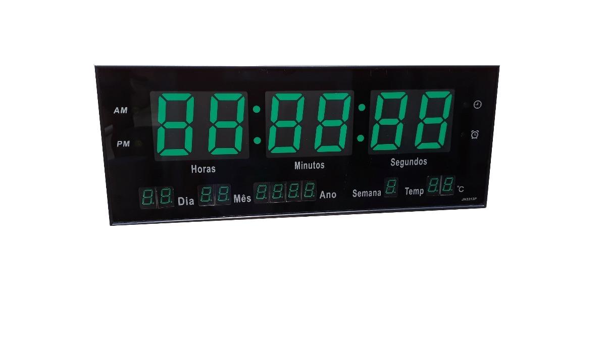 ecbc2b8cfde relógio de parede led digital grande calendário - verde 33cm. Carregando  zoom.