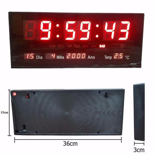 relógio de parede led digital grande termometro recepção m