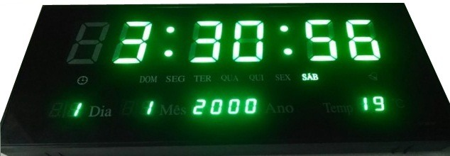 3e2e7163e3c Relógio De Parede Led Digital Termômetro Alarme Ala. Verde-m - R  99 ...