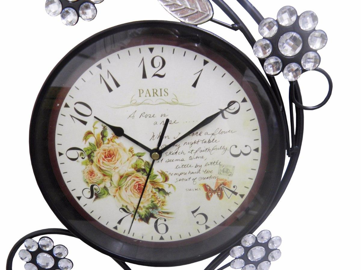 0f9358bd0f2 relogio de parede paris flores vintage retro para decoracao. Carregando  zoom.